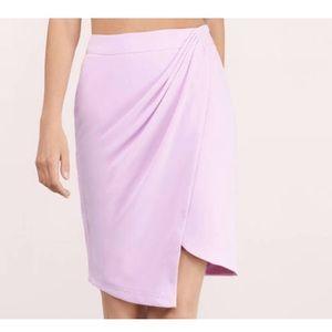 Lavender faux wrap asymmetrical skirt